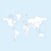 World map white on light blue dotted grid