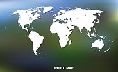 World Map. White silhouette on a mesh background