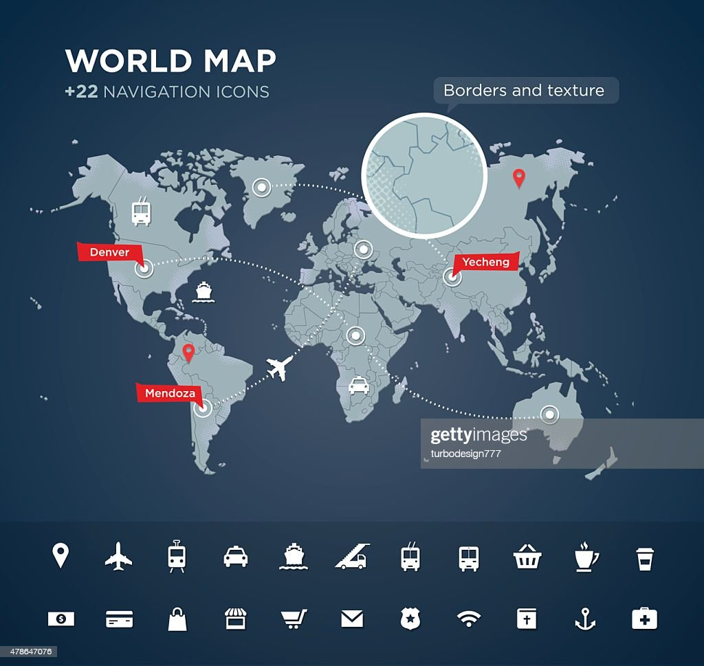 World map with 22 icons