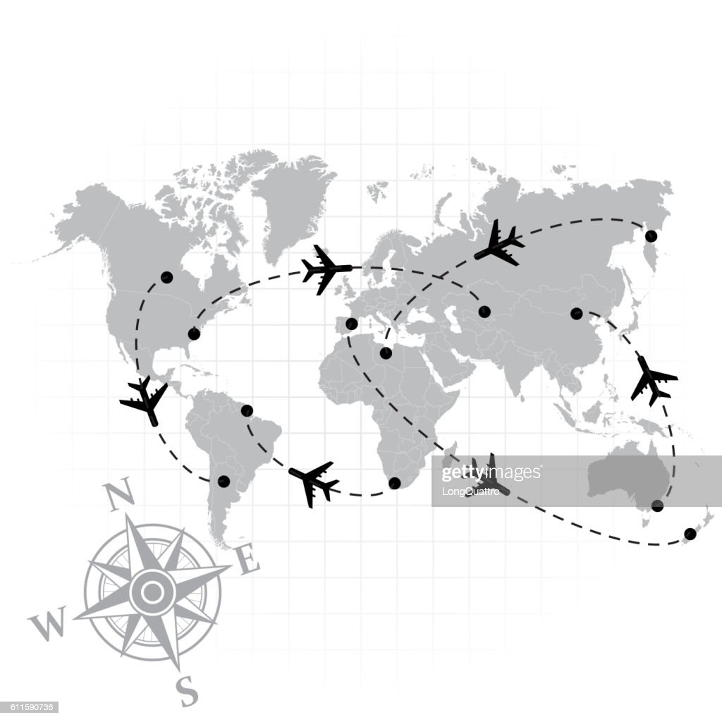 World map with airplanes