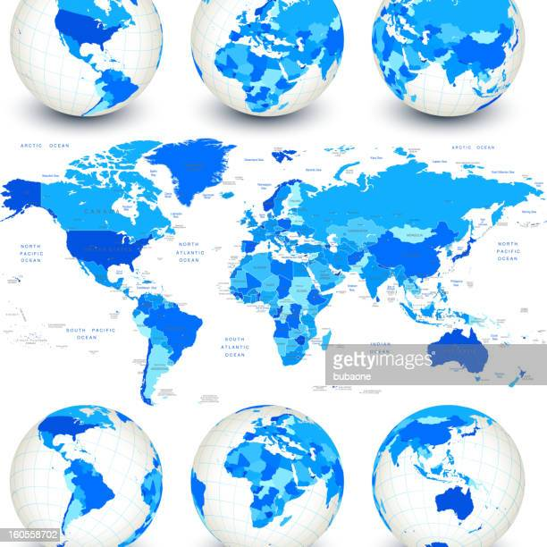 world map with blue globes and country outlines - intricacy stock illustrations