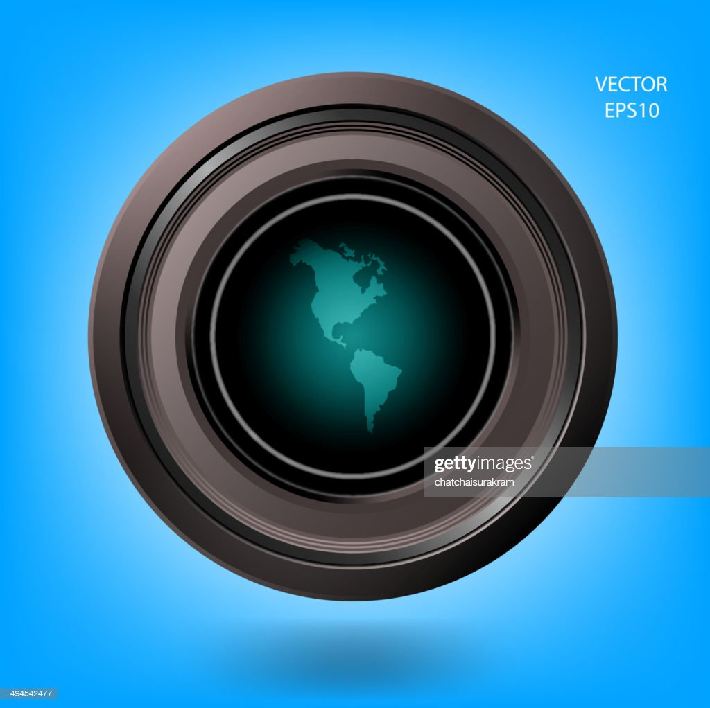 world map with camera lens on background