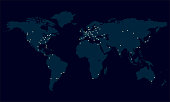 World map with city lights. Night view of Earth map with glowing city dots. Vector illustration.