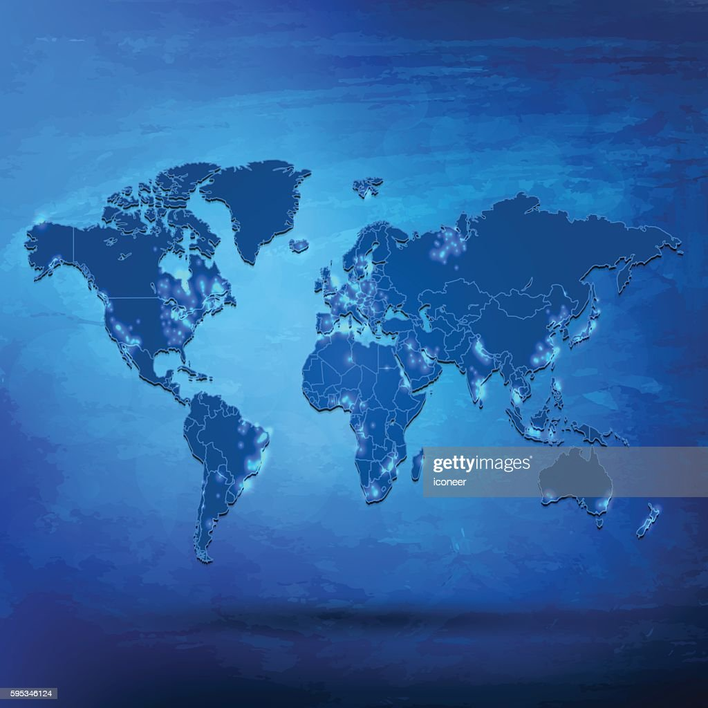 world map with city lights on blue grunge background vector art