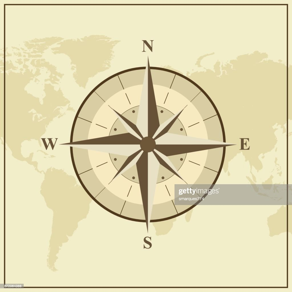 World Map With Compass Rose Illustration Vector Art Getty Images