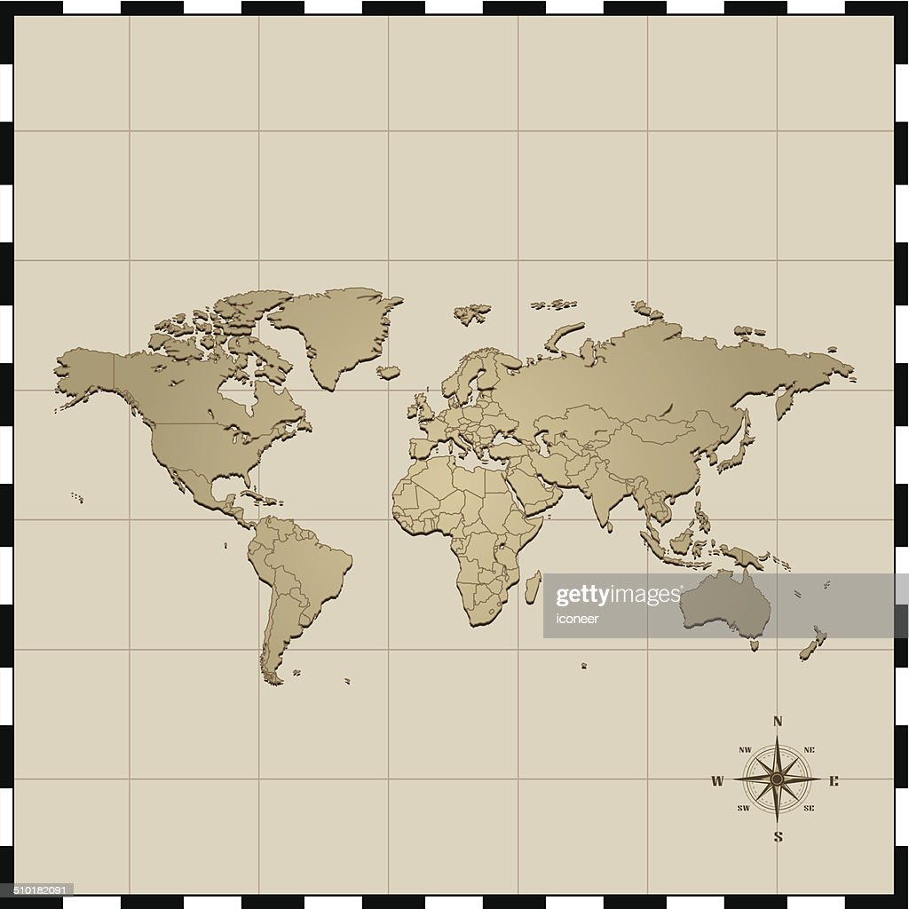 World Map With Compass Rose stock illustration - Getty Images