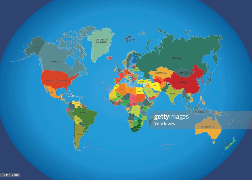 World Map With Country Names Vector Art Getty Images - World map and country names