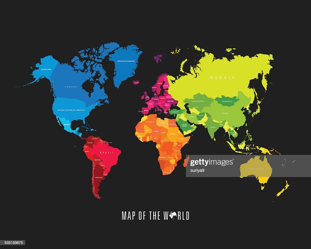 World Map With Different Colored Continents Illustration Vector Art