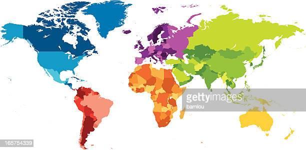 Weltkarte mit Kontinenten verschiedenen Farben