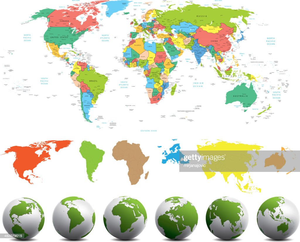 World map with different continents in various colors vector art world map with different continents in various colors vector art gumiabroncs Choice Image