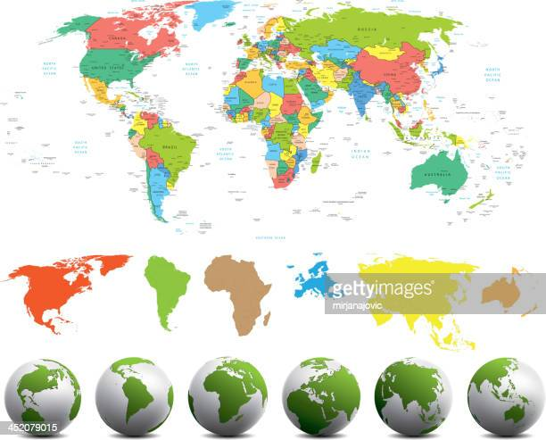 World map with different continents in various colors