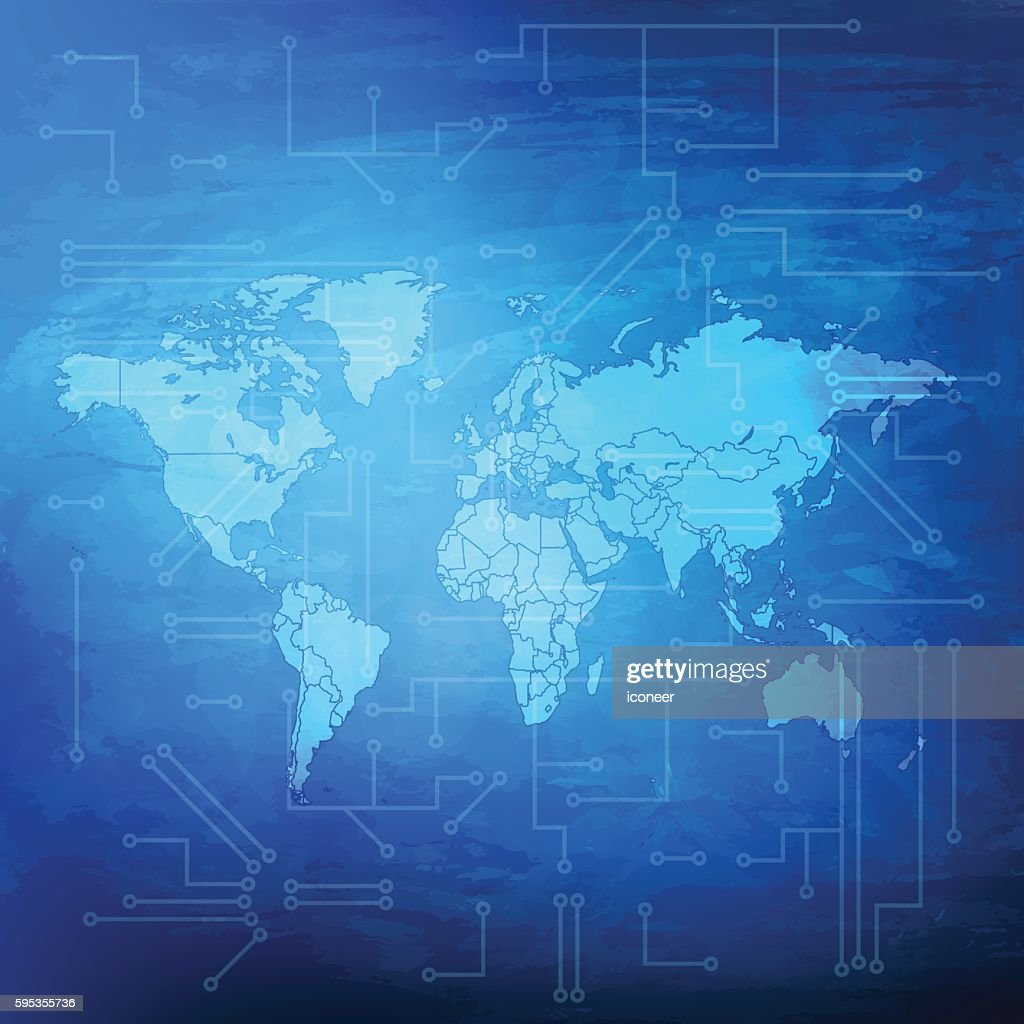 World Map With Electric Circuit On Blue Grunge Background Vector Art ...