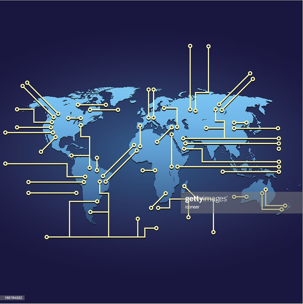 World Map With Electrical Circuit Vector Art   Getty Images