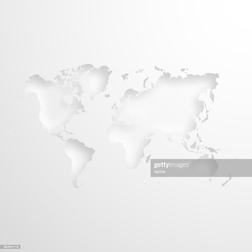 World map with embossed paper effect on blank background