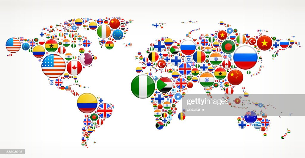 World map with Flag Buttons
