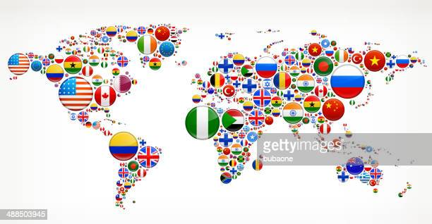 world map with flag buttons - national flag stock illustrations