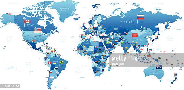 world map with flags - straight pin stock illustrations, clip art, cartoons, & icons