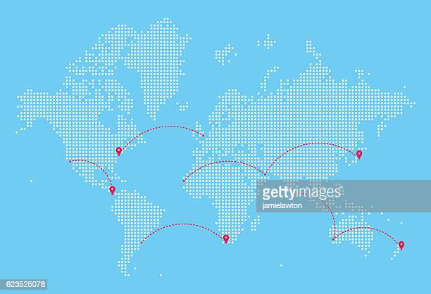 world map with flight paths - thoroughfare stock illustrations, clip art, cartoons, & icons