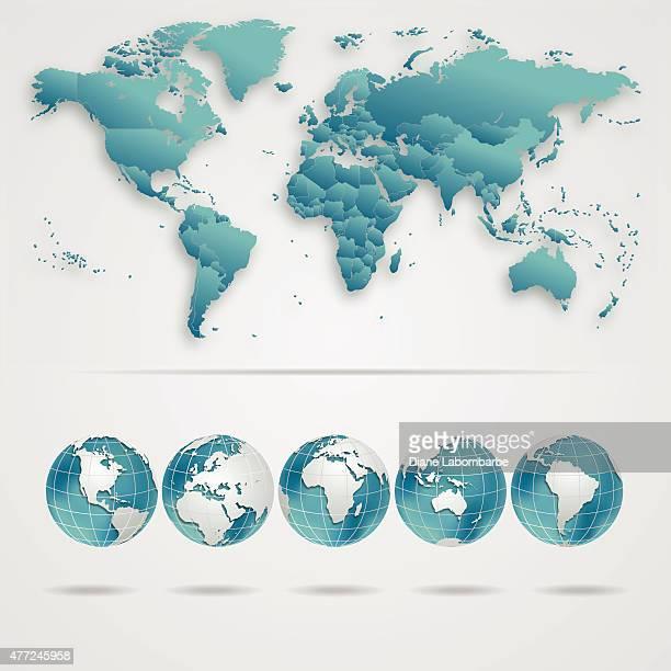 Weltkarte mit Globen In Blaugrün