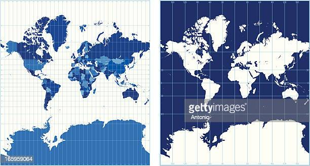 world map with graticules (mercator projection) - the americas stock illustrations