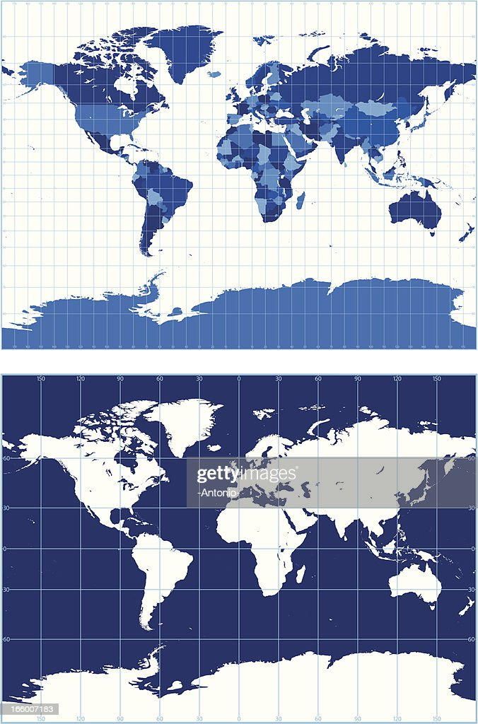 World map with graticules vector art getty images world map with graticules miller projection vector art gumiabroncs Gallery
