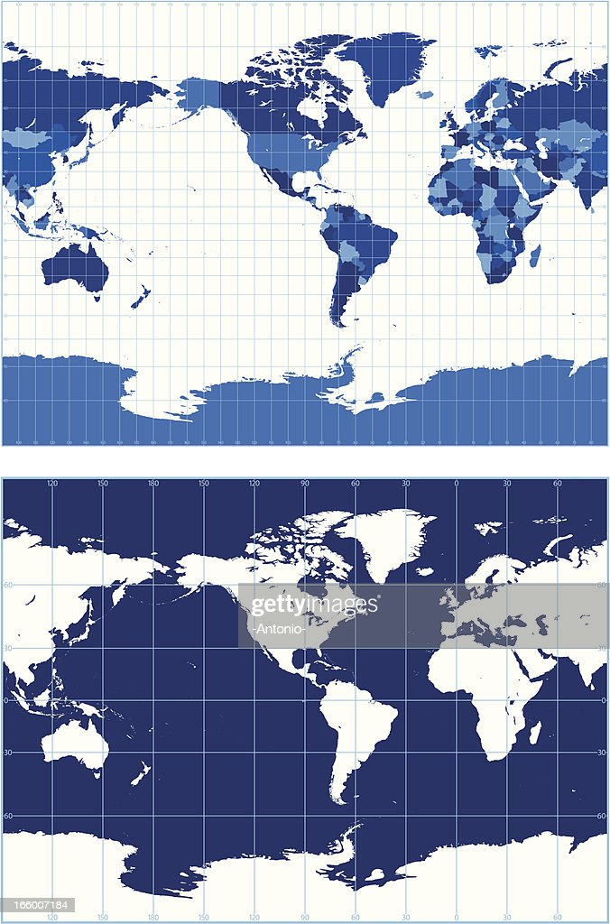 World map with graticules vector art getty images world map with graticules miller projection vector art gumiabroncs Image collections