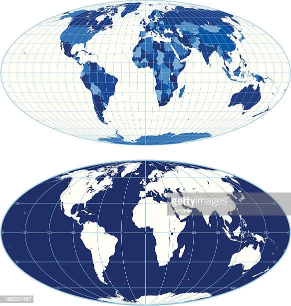 World map with graticules (Mollweide projection)