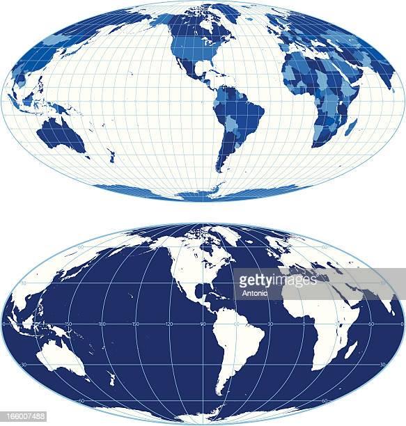 Weltkarte mit graticules (Mollweide Projektion)