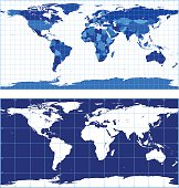 World map with graticules (plate carree projection)