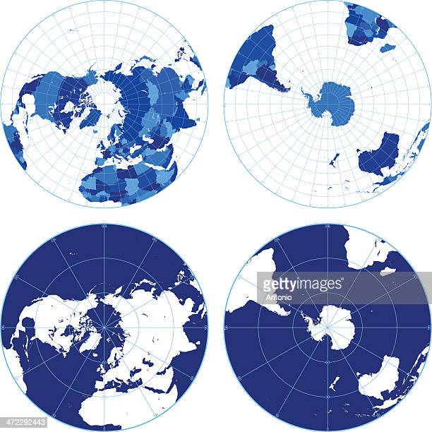 World map with graticules (northern/southern hemispheres)