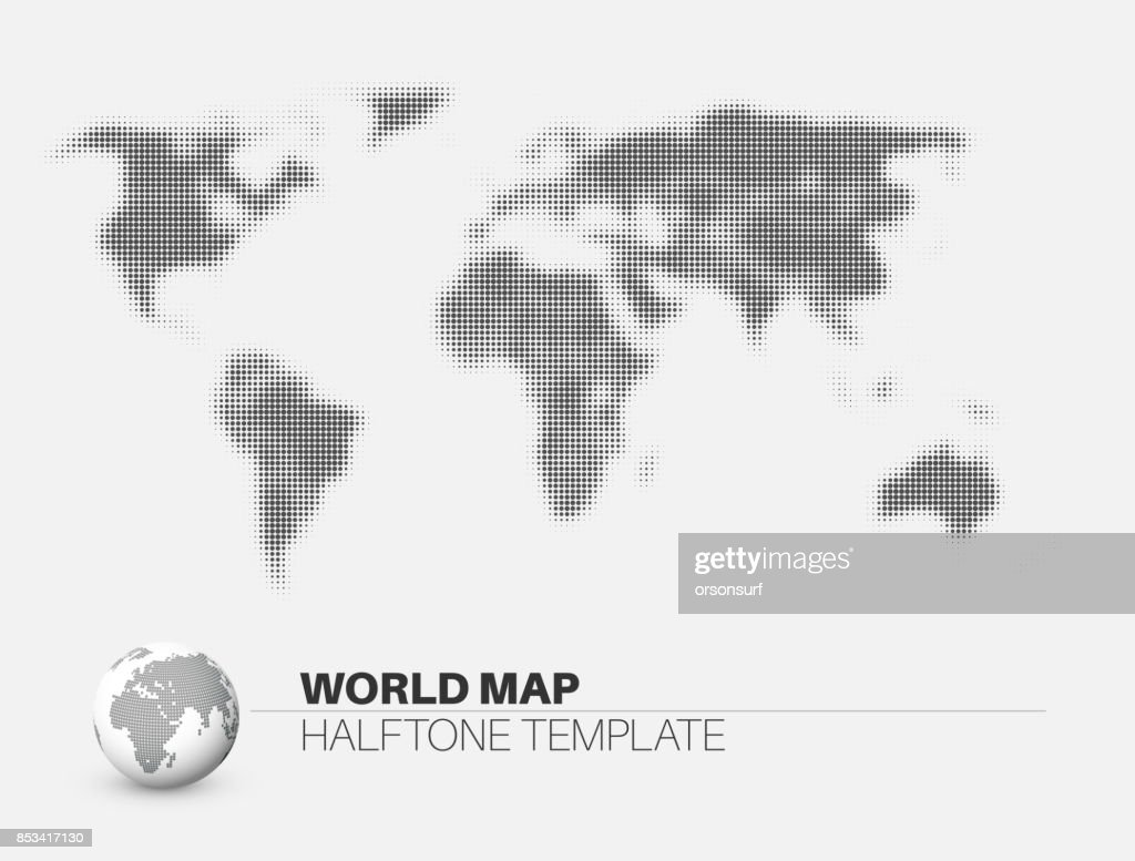 World map with halftone effect vector art getty images world map with halftone effect vector art gumiabroncs Image collections