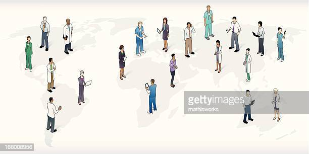 World Map with Healthcare Professionals