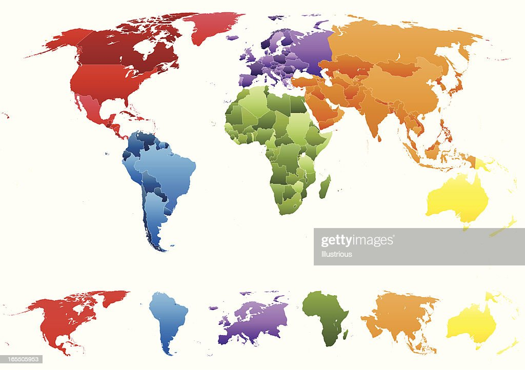 World Map With Individual Countries And Separate Continents Vector