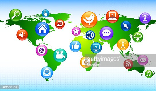 world map with internet and communication royalty free vector arts vector art getty images
