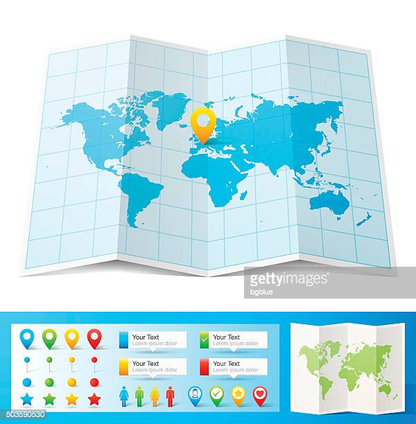 World Map with location pins isolated on white Background