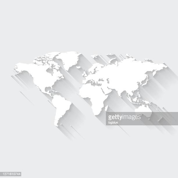 world map with long shadow on blank background - flat design - geographical border stock illustrations