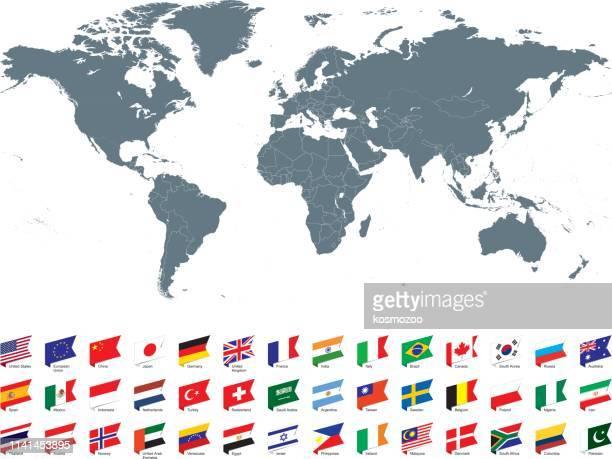weltkarte mit den beliebtesten flaggen vor weißem hintergrund - russland stock-grafiken, -clipart, -cartoons und -symbole