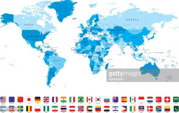 world map with most popular flags against white background - eastern europe stock illustrations, clip art, cartoons, & icons