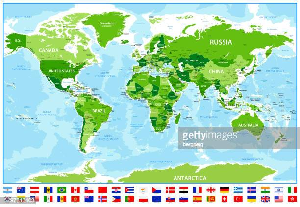 world map with most popular flags, national borders and oceans - the americas stock illustrations