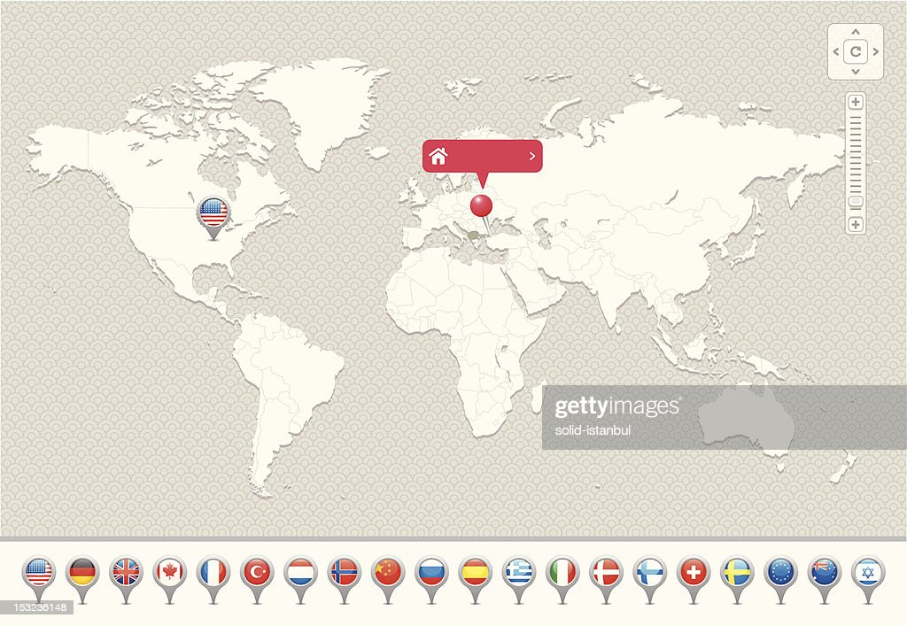 World Map with National Flags