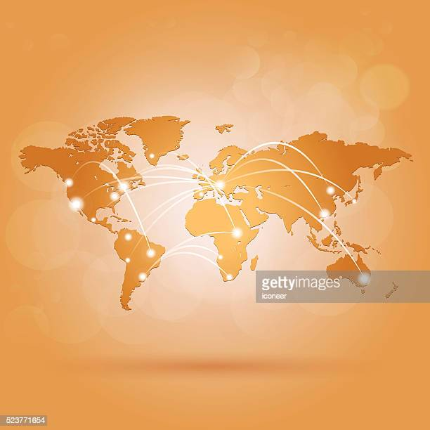 World map with network connections on orange amber background