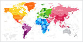 World Map with North America, South America, Africa, Europe, Asia and Oceania Continents. Vector Illustration