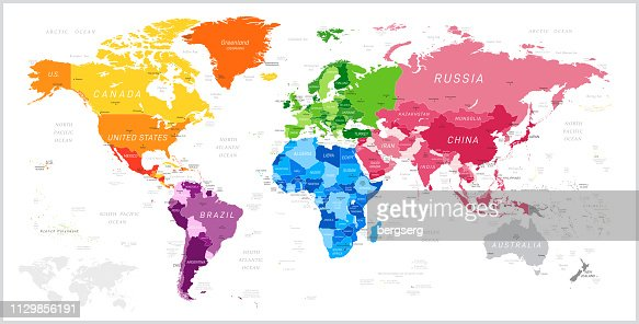 Weltkarte Mit Nordamerika Südamerika Afrika Europa Asien Und ...
