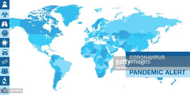 world map with pandemic icons - quarantine clip art stock illustrations