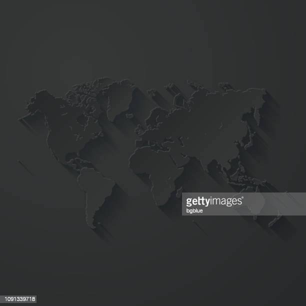 illustrazioni stock, clip art, cartoni animati e icone di tendenza di world map with paper cut effect on black background - europa continente