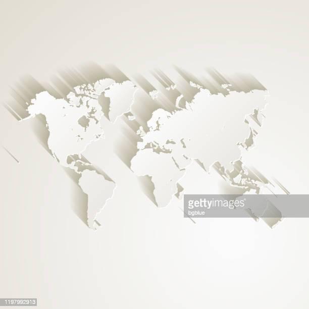 illustrazioni stock, clip art, cartoni animati e icone di tendenza di mappa del mondo con effetto taglio carta su sfondo vuoto - planisfero