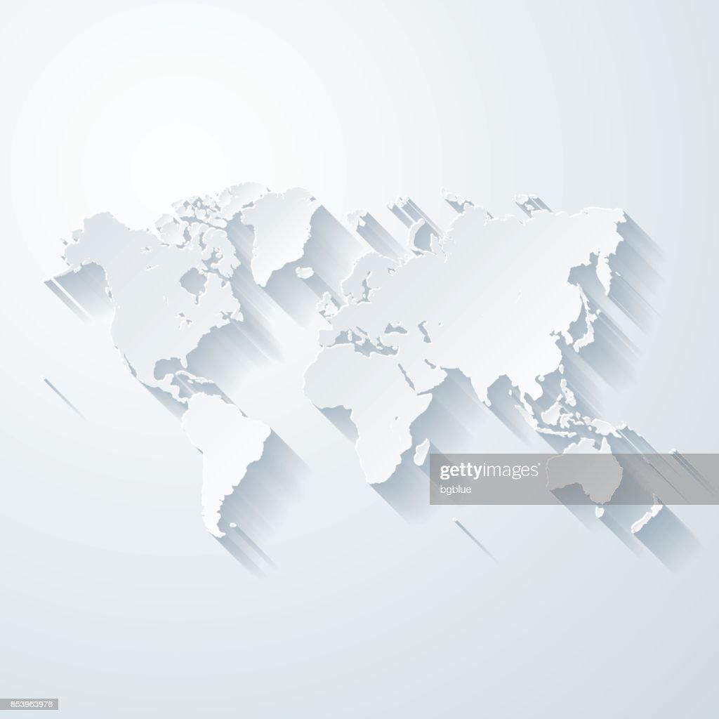 Weltkarte mit Papier geschnitten Wirkung auf leeren Hintergrund : Stock-Illustration
