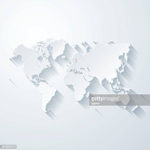 world map with paper cut effect on blank background - white stock illustrations