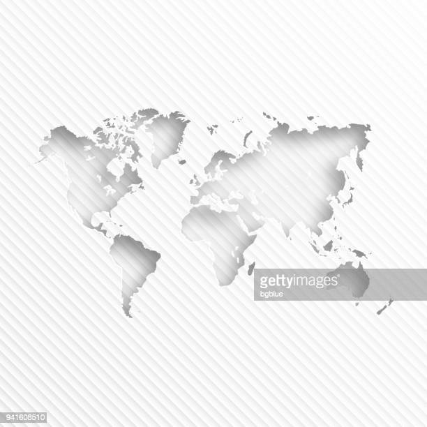 world map with paper cut on abstract white background - cut or torn paper stock illustrations, clip art, cartoons, & icons