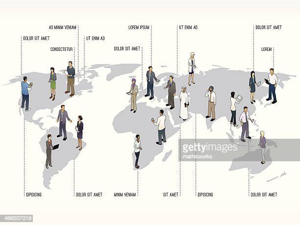 World Map with People  Slide Template